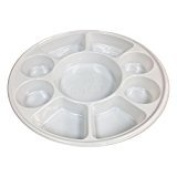 Movie Time Video 25 X Punjabi 9 Section White Disposable Thali Food Trays Plates for Indian Events Birthdays Weddings Parties All Occasions