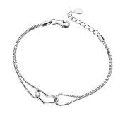 Hosaire 1X Hosaire 1X Fashion Elegant Women Girls Jewellery Crystal Heart Shape Bracelet Hand Chain For Holiday Gifts
