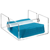 Modern Clear Acrylic Kitchen Napkin Holder Rack with Centre Bar Weighted Arms - MyGift®