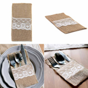 vLoveLife 10cm x 22cm Natural Hessian Burlap Cutlery Holder Pouch Bag with Lace Rose Flower Wedding Tableware Bags Favour , Pack Of 10