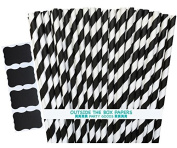 Outside the Box Papers Striped Paper Straws 20cm Pack of 100 Black, White