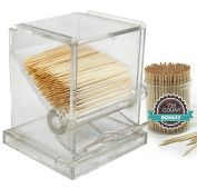 Tiger Chef Clear Acrylic Toothpick Dispenser Includes 720 Ornate Wood Toothpicks, 5 x 8.9cm x 8.1cm