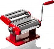 Professional Grade Pasta Maker - Stainless Steel Pasta Machine - Red Pasta Roller Spaghetti Noodle Maker