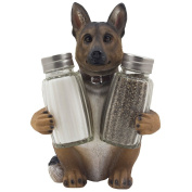 German Shepherd Police Dog Salt and Pepper Shaker Set with Decorative Display Stand Holder Canine Figurine for Kitchen Decor Table Centrepieces As K-9 Gifts for Policemen by Home-n-Gifts