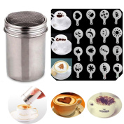 Buytra Stainless Steel Coffee Shaker Duster Icing Sugar Powder Cocoa Flour Sifter with 16 Pieces Cappuccino Barista Coffee Art Stencils