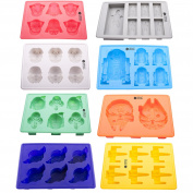 Vibrant Kitchen Set of 8 Ice Cube Trays And Candy Silicone Moulds for Star Wars Theme Baking & Gift E-book
