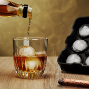 "Premium Quality Ice / Cake Ball Maker , Best Whiskey Ice Mould , 9 Spherical Balls Ice Tray makes 1.8"" / 4.5cm Sphere , 3 Securing Systems Preventing Leakage - 100% BPA Free , FDA Approved , Silicone"