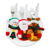 AUCH 3Pcs Christmas Cutlery Bag, Kitchen Silverware Holders Pockets Suit, Santa Claus Snowman Elk Shaped Knifes Forks Spoons Pouch Christmas Party Favour