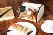 Roll Top Bread Box For Kitchen - Bread Bin Storage Container For Loaves, Pastries, and More 9.75 x 20cm x 13cm , Ivory by Juvale