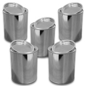 Lot of 5 metal boxes, tin with lid 750 ml
