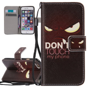 iPhone 6 Case, iPhone 6S Case, ISAKEN Wallet Flip Case with Strap for iPhone 6S/iPhone 6, Creative Printing Drawing PU Leather Magnetic Flip Wallet Case Purse Bag Cell Phone Case mobile Cover Protect Skin with Credit Card Slot Stand Stander Holder For ..