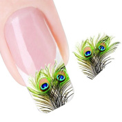 LHWY Peacock Feather Nail Tip Art Water Transfers Decal Sticker
