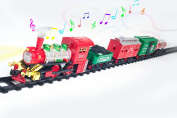 New Age Classic Holiday Christmas Train Set Real Smoke - Authentic Lights, and Sounds - A Full Set with Locomotive Engine, Cargo Cars, Tracks and Christmas Spirit