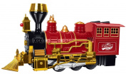 Christmas Train, Kids Railroad Train, Red Classic Train, with Lights and Sounds, Bump and Go Action