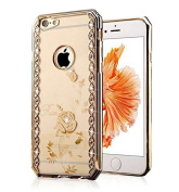 iPhone 6 Plus/6s Plus 5.5 Plating Crystal TPU Case-Auroralove Rose Gold Beauty Rose Flower Soft Silicone Case Bling Diamond Rhinestone Case with Angle Door Design for iPhone 6 Plus/6s Plus 5.5