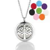 Essential Oil Diffuser Necklace Aromatherapy Diffuser Locket Hollow Out Tree Pendant Set with 10 Scent Pads
