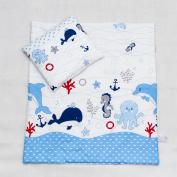 2 Piece Duvet Pillow Set For Crib, Cradle, Pram, Filling Baby Bedding Set - HEARTS RED