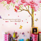 Rainbow Fox Large Pink Sakura Flower Cherry Blossom Tree Wall Sticker Decals PVC Removable Wall Decal for Nursery Girls and Boys Children's Bedroom