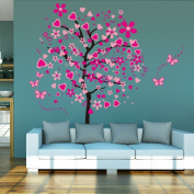 Rainbow Fox Large Heart Tree Butterfly Wall Decals Tree Wall Sticker Decals PVC Removable Wall Decal for Nursery Girls and Boys Children's Bedroom