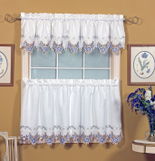 Today's Curtain Verona Reverse Embroidery Window Tier, 90cm , White/Blue