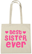Best Sister Ever Cotton Shopping Tote Bag, Novelty Christmas Birthday Gift Bag for Sister