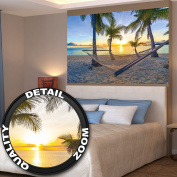 Poster Hammock at Palm Beach before sunset wall picture decoration Sun Caribbean holiday summer beach sea palm trees   Wallposter Photoposter wall mural wall decor by GREAT ART