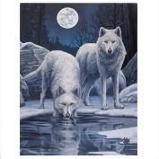 Lisa Parker - Warriors Of Winter - White Wolves & Ice Scene - 25cm x 19cm Canvas Plaque