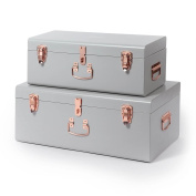 Beautify Set of 2 Vintage-Style Steel Bedroom Storage Trunks - Grey & Rose Gold