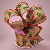 Premium Natural Wide Christmas Ribbon - 6.4cm by 10 Yards