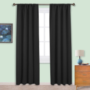 PONYDANCE Soft Thermal Insulated Solid Blackout Curtains / Drapes for Livingroom, 110cm Wide by 210cm Height per Panel,