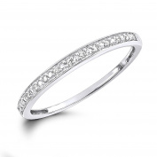 10k White Gold 0.05 Carat (cwt) Round Diamond Ladies Anniversery Stackable Band Ring