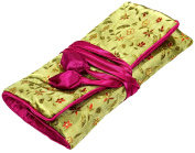 Light Green Pink Floral Print Embroidery Make-Up Roll / Wrap /Jewellery Roll