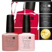 CND Shellac UV/LED Power Polish, Satin Pyjamas/Clearly Pink 7.3 ml - Pack of 2
