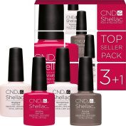 CND Shellac UV/LED Power Polish, Negligee/Wildfire/Rubble/Romantique 7.3 ml - Pack of 4