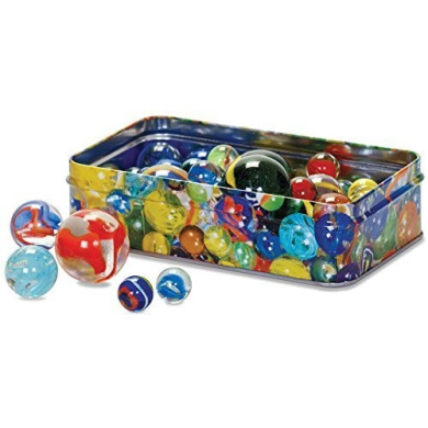 Marbles classic traditional childrens games tin of coloured marbles
