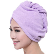 Soft Coral Fleece Quick Drying Hair Dry Hat Double Side Bath Shower Dry Hair Cap Towel With Button