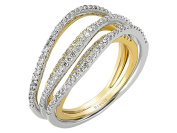 Two Tone Crossover Fancy Diamond Wedding Ring in 18K Gold