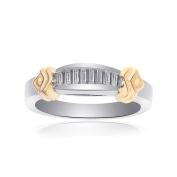 0.50 Carat Princess Cut Brilliant Diamond Wedding Band 14K Two Tone Gold