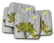 Bird & Tree Design Drinks Coasters - set of 4 drinks mats ideal new home present or housewarming gift