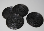 Set of 4 Black Round Beaded Coasters cup Mats