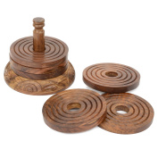 Rusticity Wood Coaster Set of 6 with Holder for beer and other drinks - Tower of Hanoi design | Handmade |