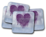 Painted Heart Drinks Coasters - set of 4 drinks mats ideal new home present or housewarming gift