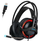 SADES R2 Gaming Headset Ditial 7.1 Channel Surround Sound USB PC Stereo Headphones with High Sensitivity Microphone Volume Control LED Light