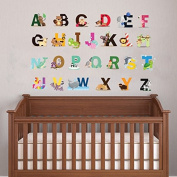 cute animal alphabet wall art sticker for baby bedroom nursery wall alphabet letters decor A-Z removable peel & stick