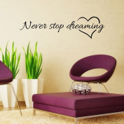 Vipwind Never Stop Dreaming Removable Art Vinyl Mural Home Room Decor Wall Stickers Vinilos Paredes
