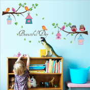 Cartoon Owls Nests Branches Wall Sticker Decal Home Paper PVC Murals House Wallpaper Bedroom Kids Babys Living Room Art Picture Decoration
