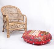 JTH Ethnic Decor Pouffe Antique Saree Pouffe Foot stool Round Poof Floor Pillow Ottoman (Size