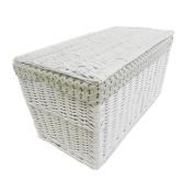 Shabby Chic White Grey Black Strong Wicker Storage Chest Trunk Toy Blanket Box[White,Small 66 x 35 x 33 cm] WTROB-W