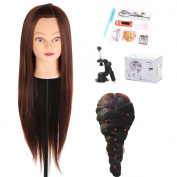 70cm Yaki Mannequin Head Hair Synthetic Cosmetology Mannequin Manikin Training Head Model with Clamp