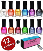 Kleancolor Nail Polish Awesome Metallic Full Size Lacquer Lot of 12 Set + COTU ® Brand Nail Buffer Block